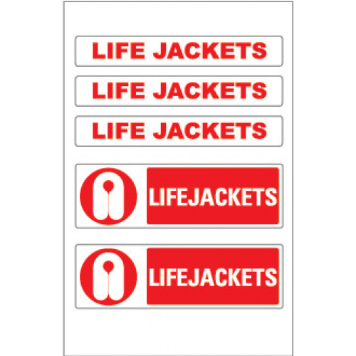 Marine Safety Stickers Lifejacket and Wording