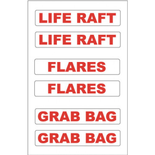 Yachtmail Marine Safety Sticker - Liferaft / Flares / Grab Bags