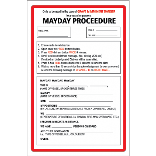 Yachtmail Marine Safety Sticker Mayday Procedure