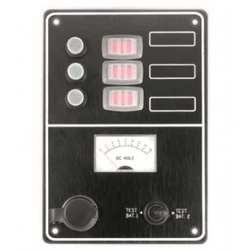 Marine Splashproof Switch Panel w/Voltmeter