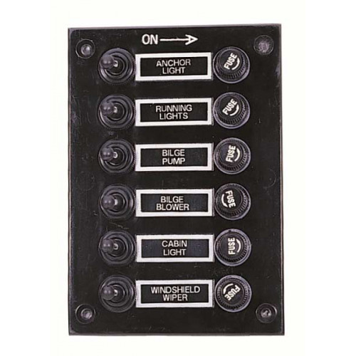 AAA - Splashproof 6 Switch Panel - Fused