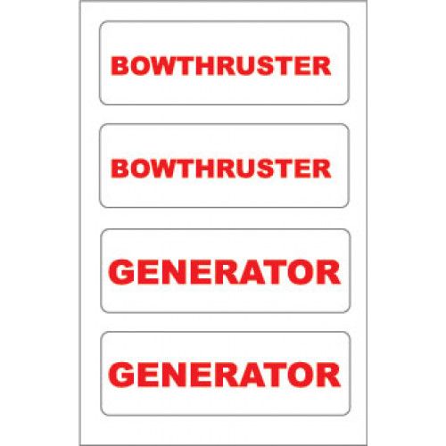 Yachtmail Marine Safety Sticker - Generator / Bowthruster