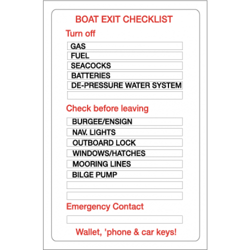 Yachtmail Marine Safety Sticker - Boat Exit Checklist