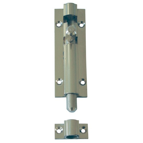 Straight Barrel Bolt Lock - Chromed Brass - 3 Inches