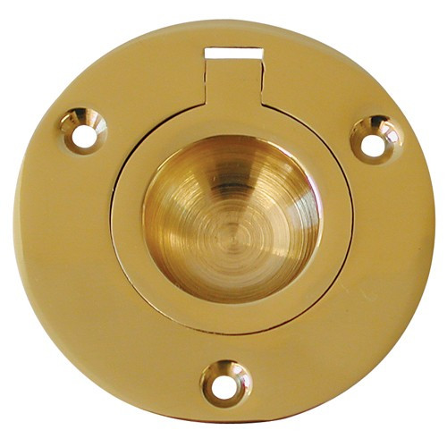 "Polished Brass Flush Ring - 2"" Diameter"